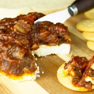 Tomato Bacon Jam spread on a piece of bread