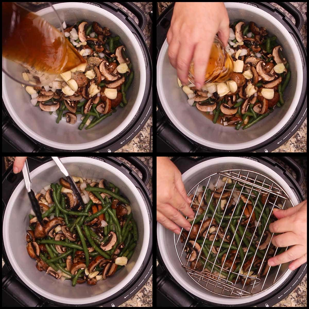 adding stock to green bean casserole