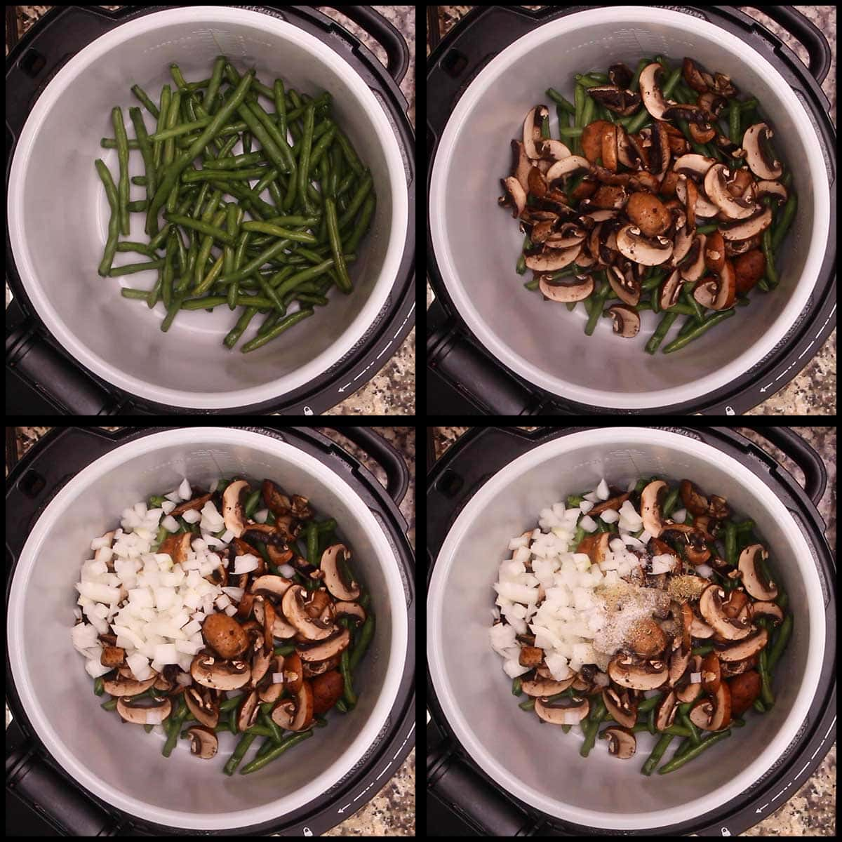 adding green beans, mushrooms, onions, seasonings to inner pot of Ninja Foodi