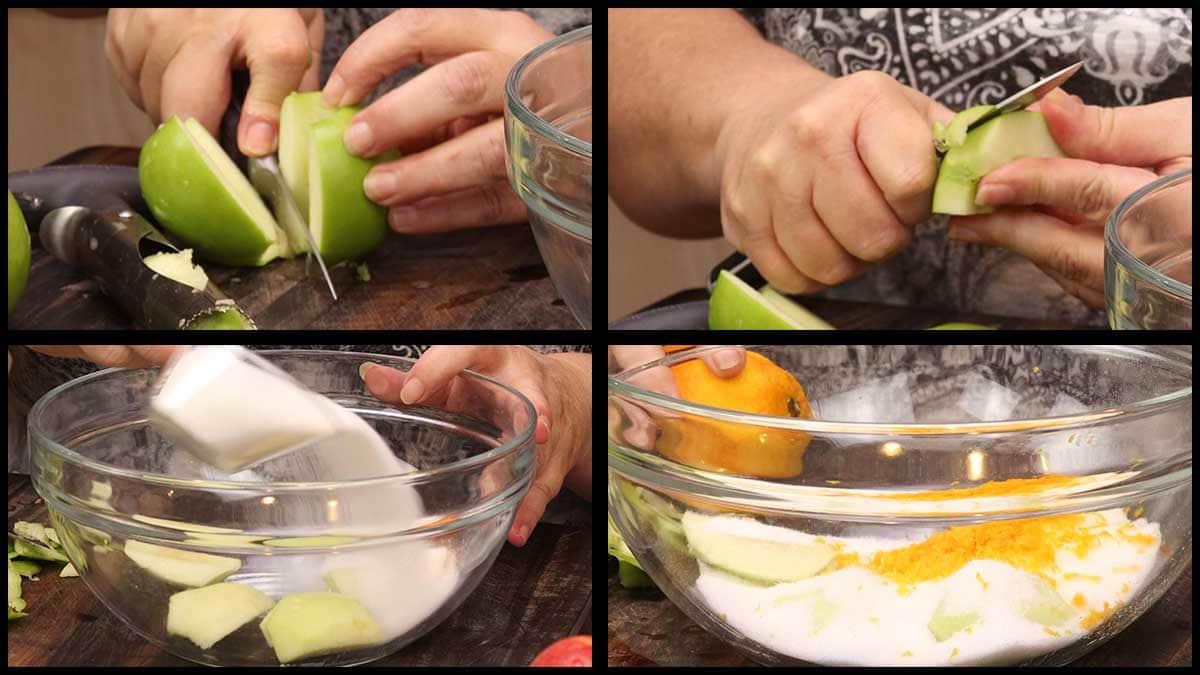 adding sugar and orange zest to a bowl