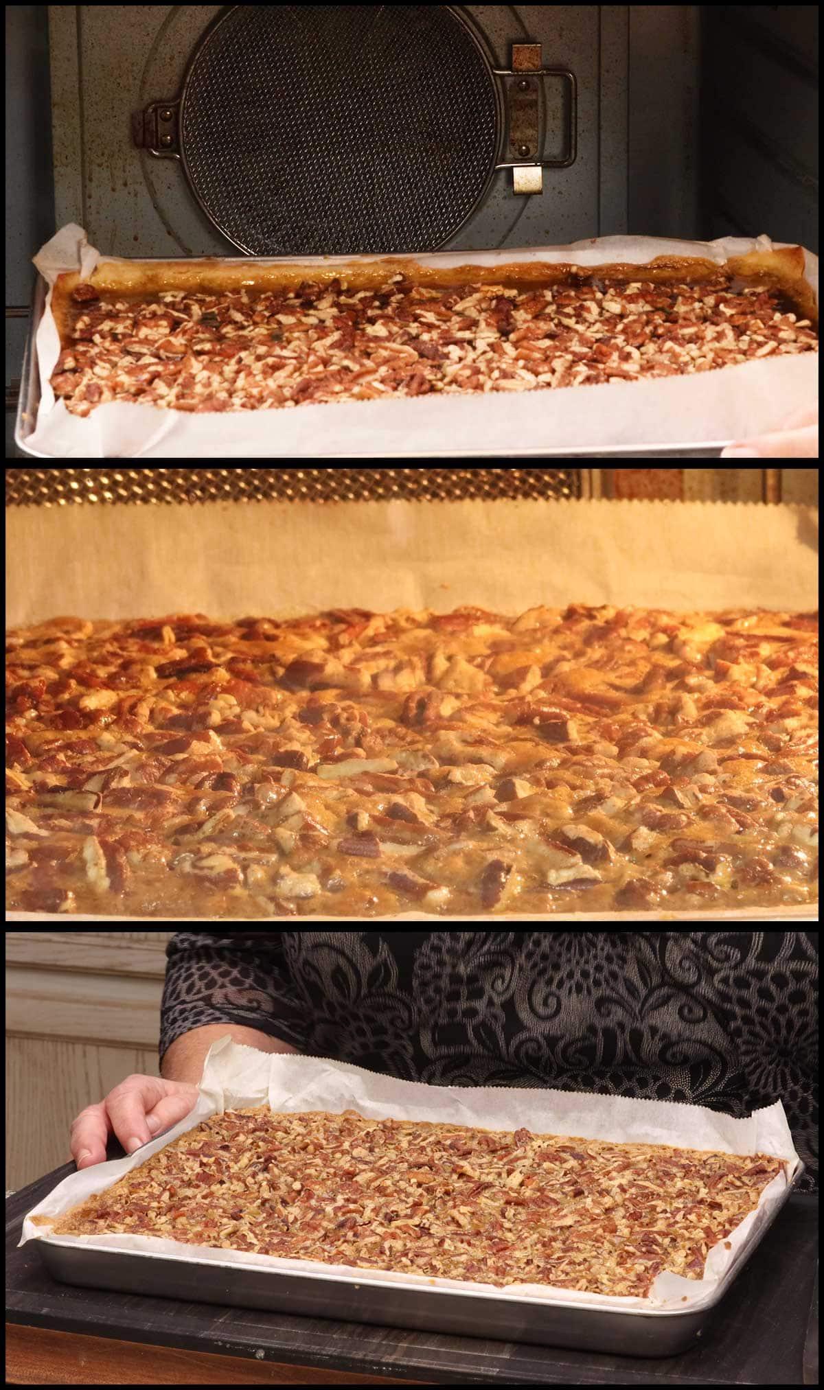 baking the pecan pie bars