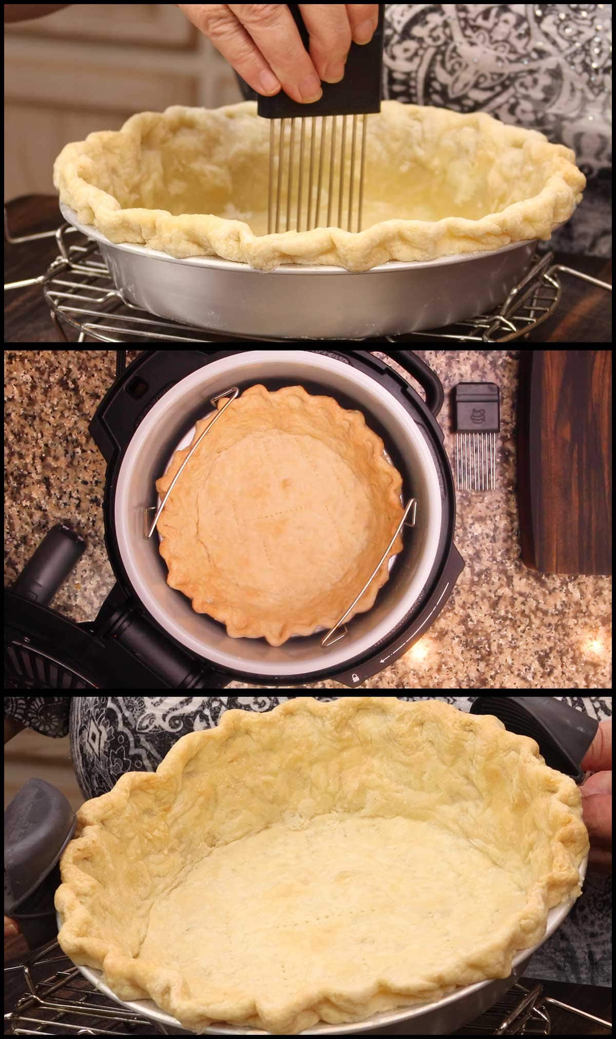 poking holes in crust and finishing baking the pie crust