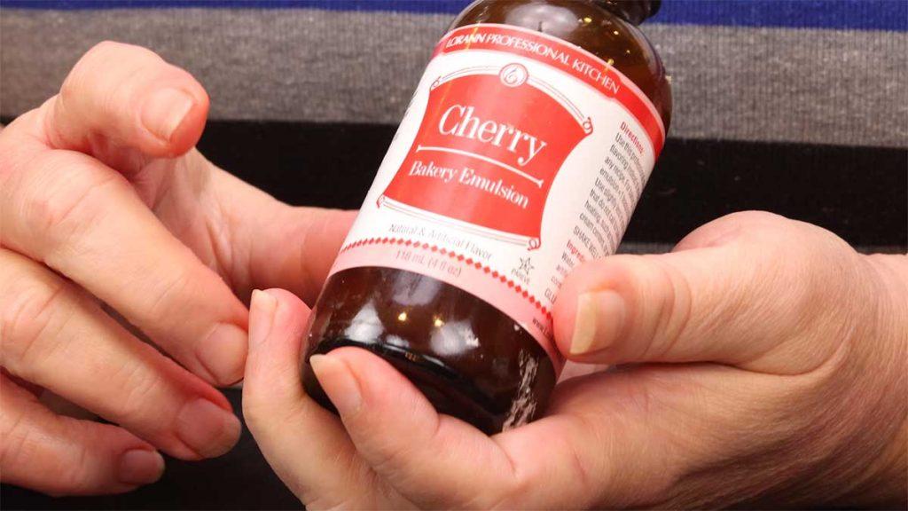 bottle of cherry baking emulsion in my hand