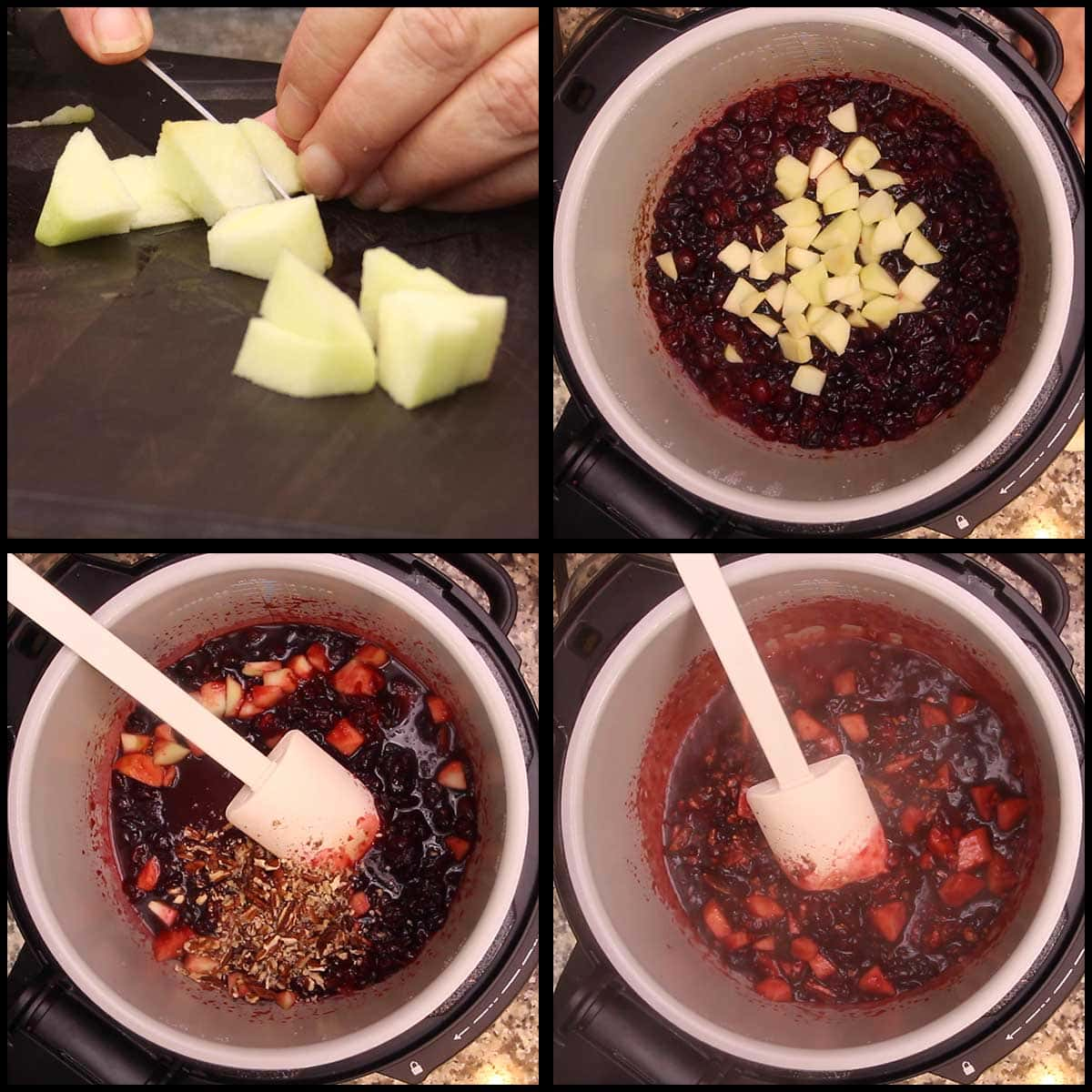 folding in apples and pecans after pressure cooking