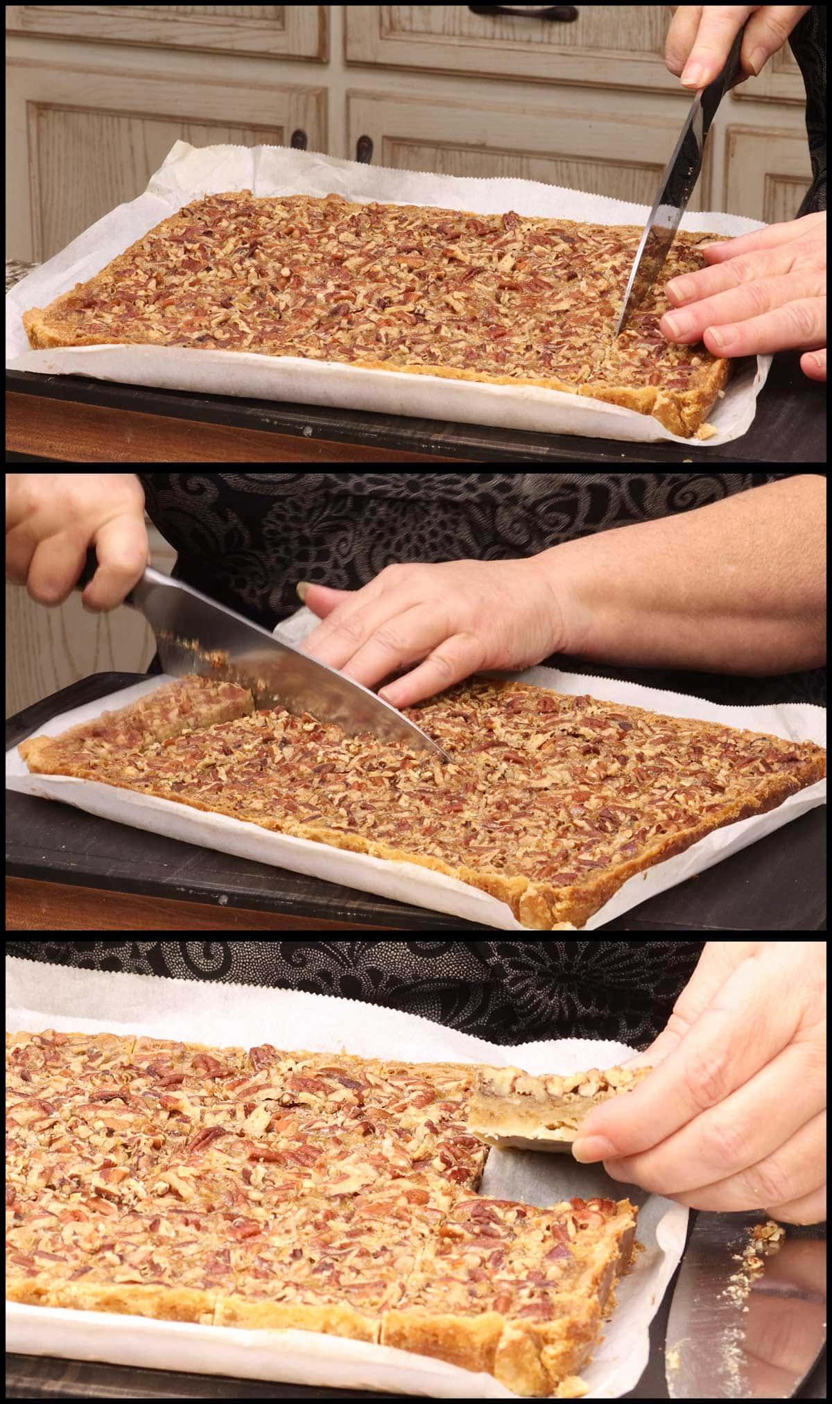cutting pecan pie bars
