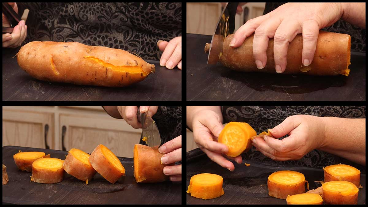 cutting the sweet potatoes into wheels
