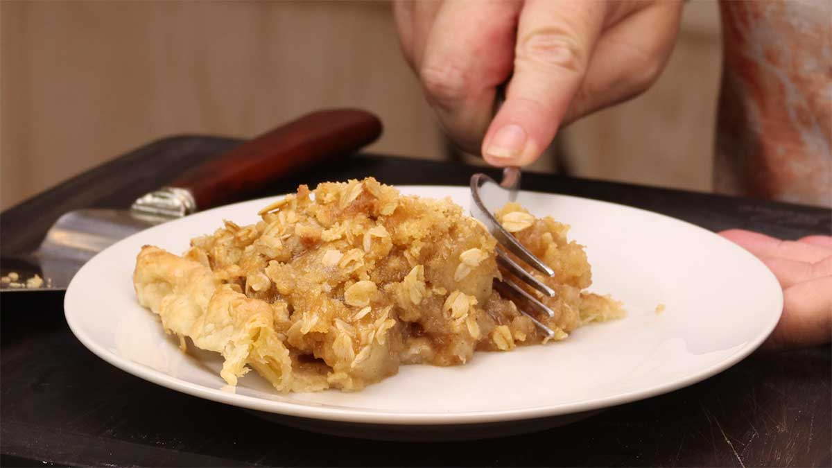 slice of 10-minute apple pie on a plate with fork