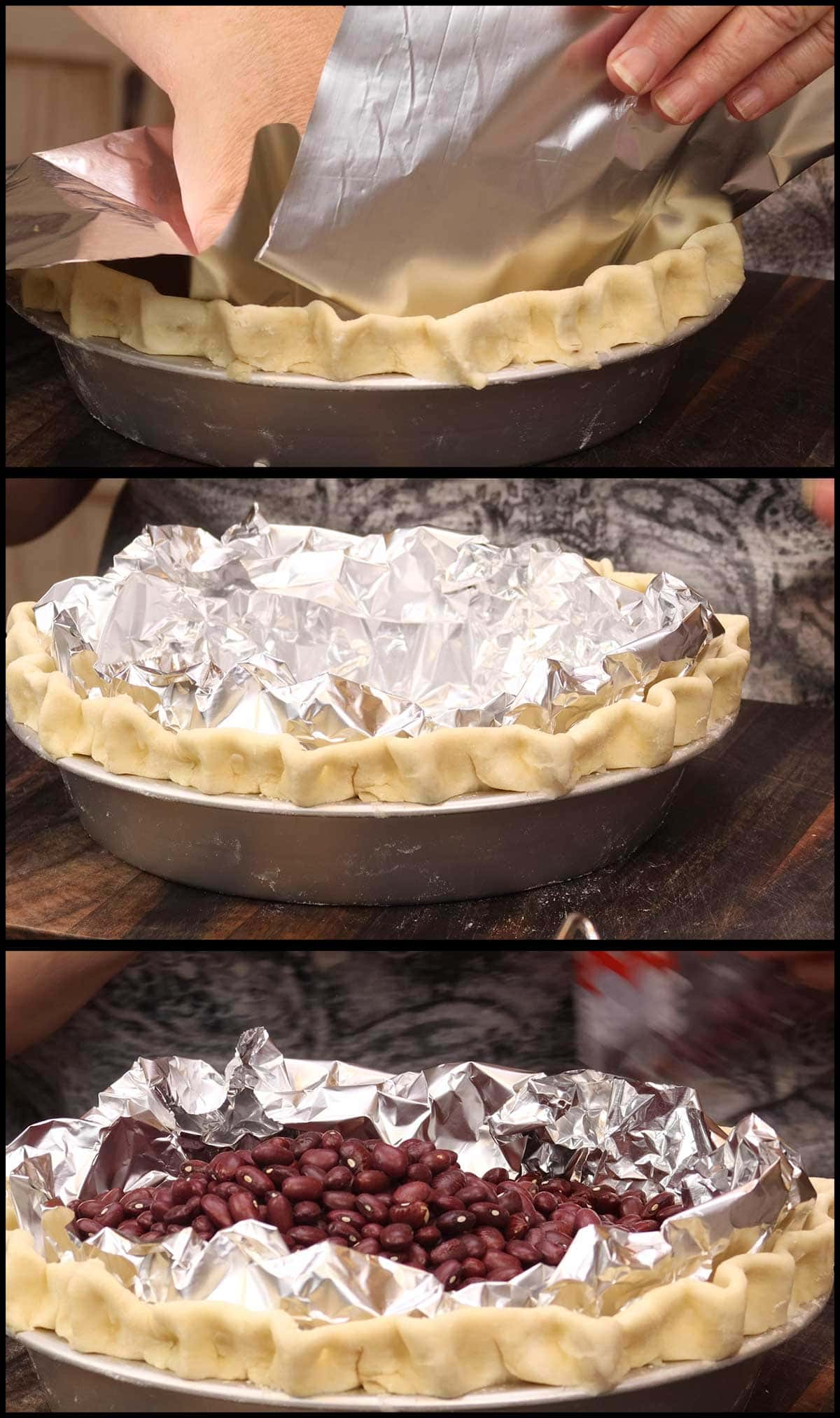 Lining the pie shell with foil and filling with dry beans