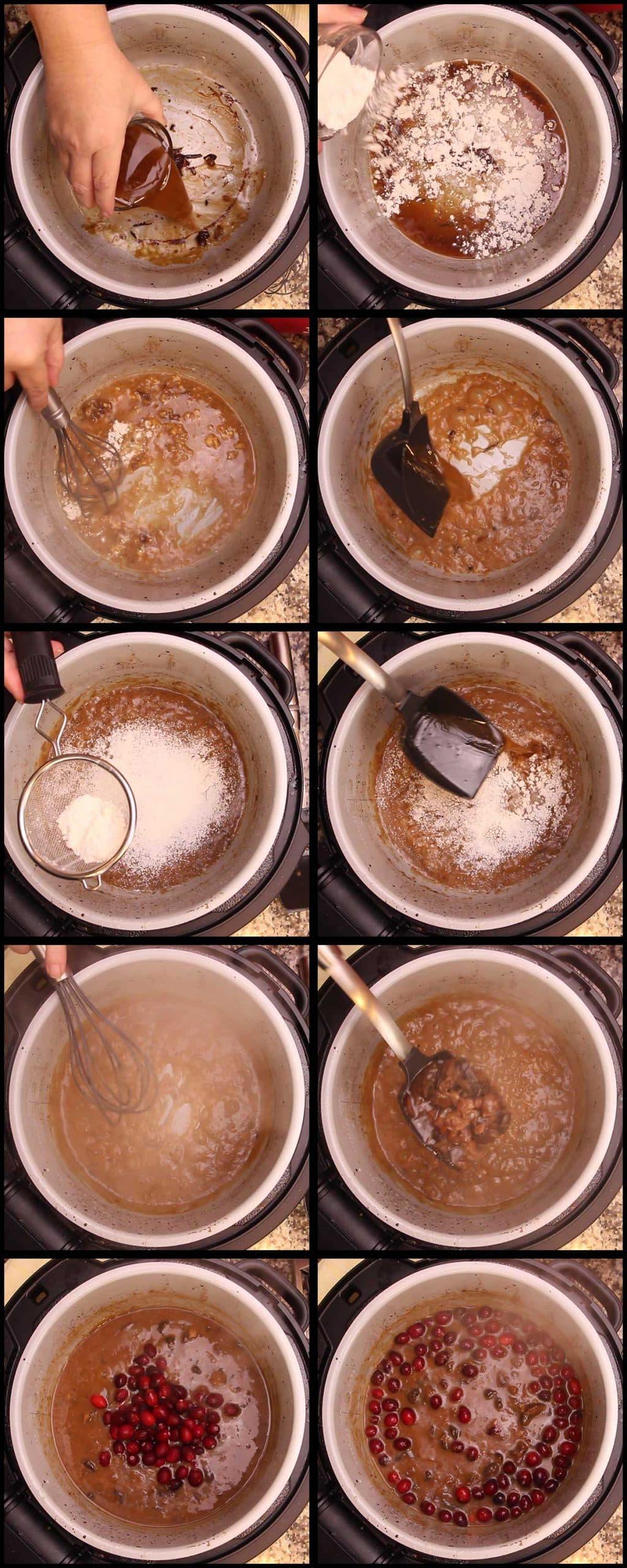 making the gravy in the inner pot