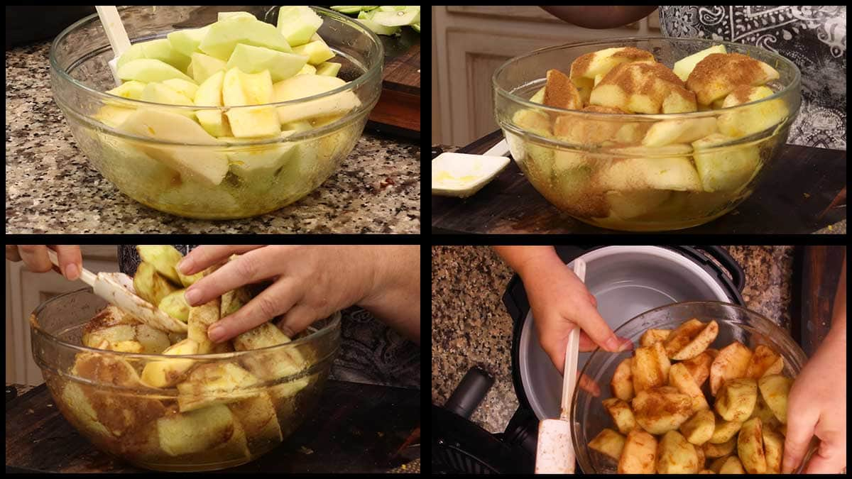 mixing the spices with the apples and putting them into the inner pot