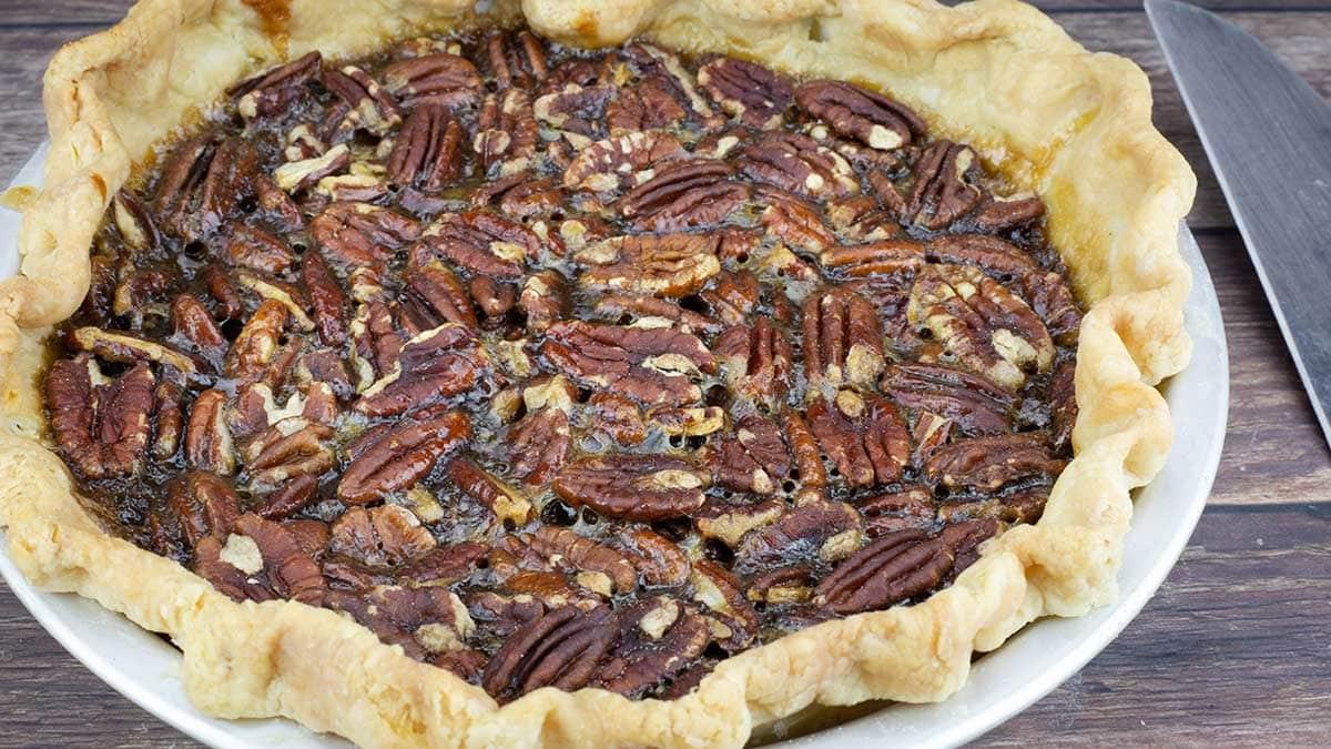 "whole pecan pie cooked in the Ninja Foodi in a 9"" Fat Daddio Pie Pan"