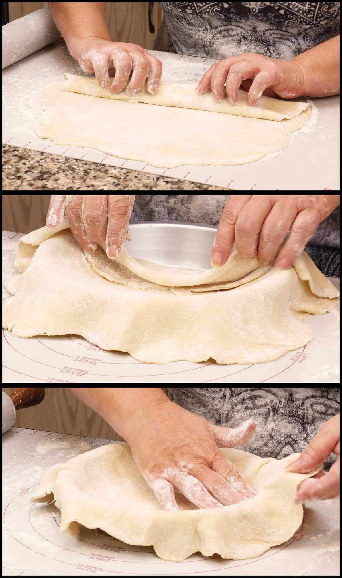 placing the pie dough into the pie pan