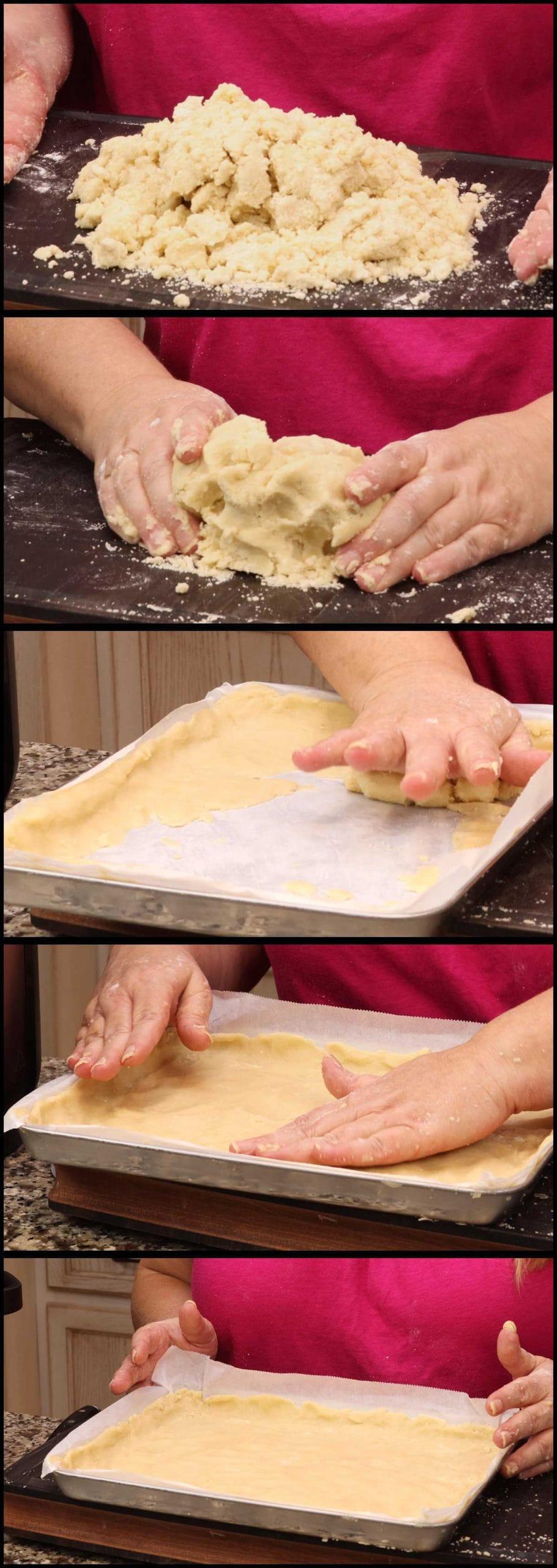 pressing the shortbread dough into the pan