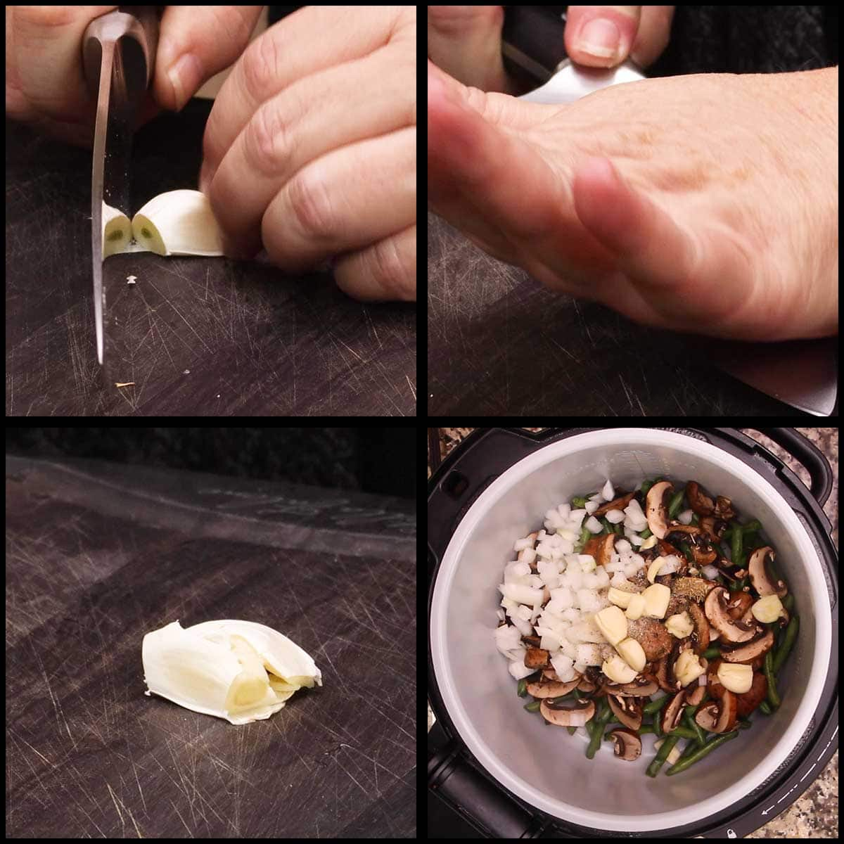 smashing garlic and adding to the inner pot