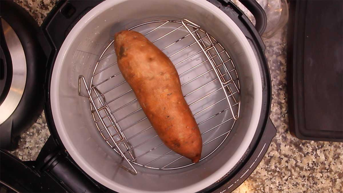 sweet potato on rack ready to be pressure cooked