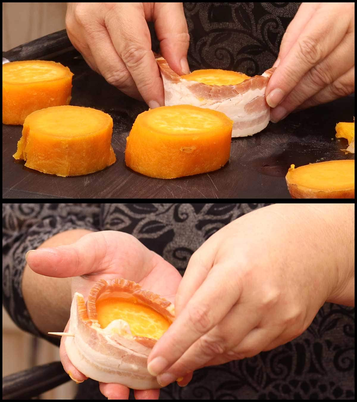 wrapping sweet potatoes in bacon and securing with a toothpick