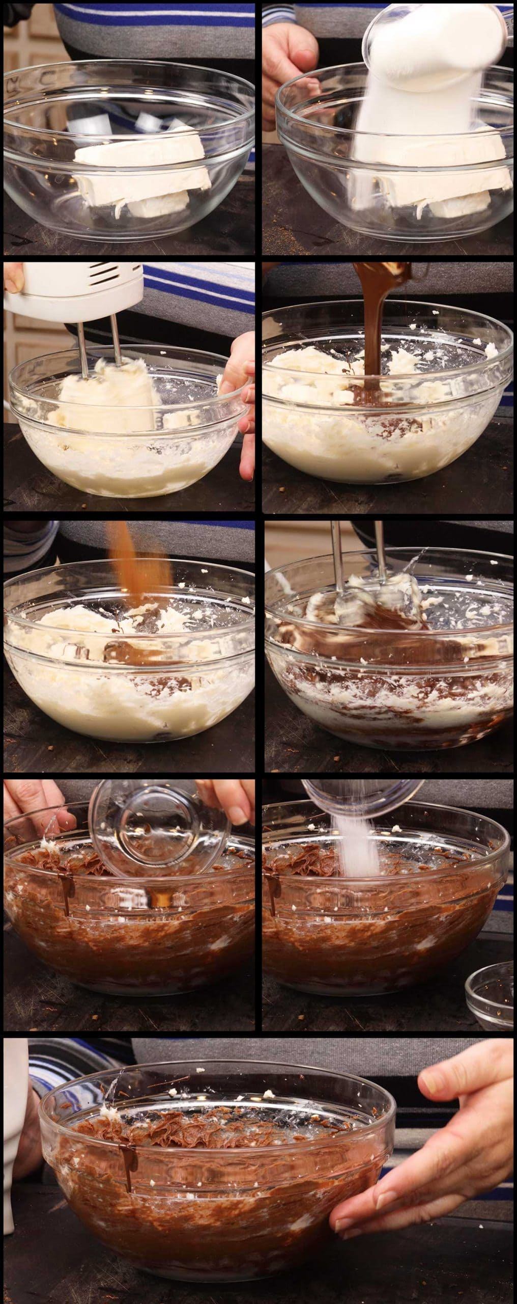 mixing up the triple chocolate cheesecake batter