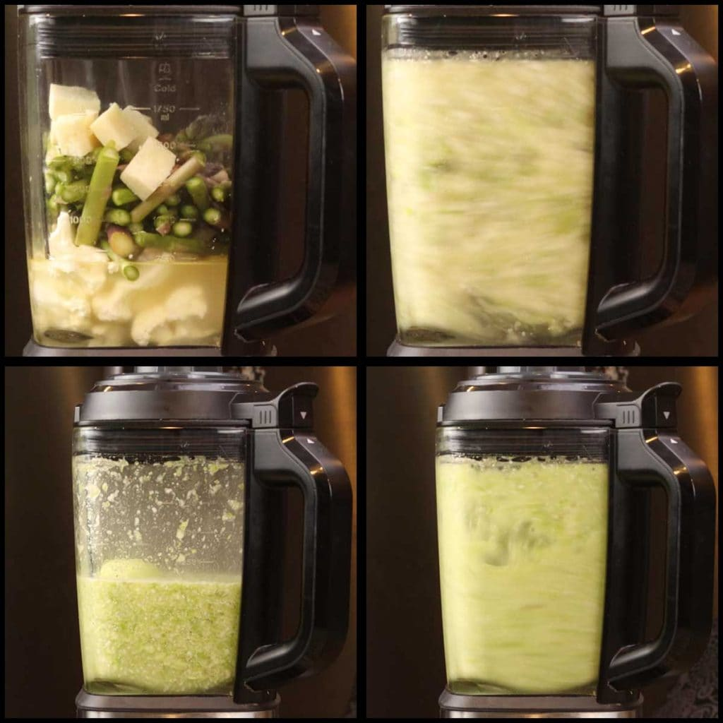 blending and cooking creamy asparagus soup