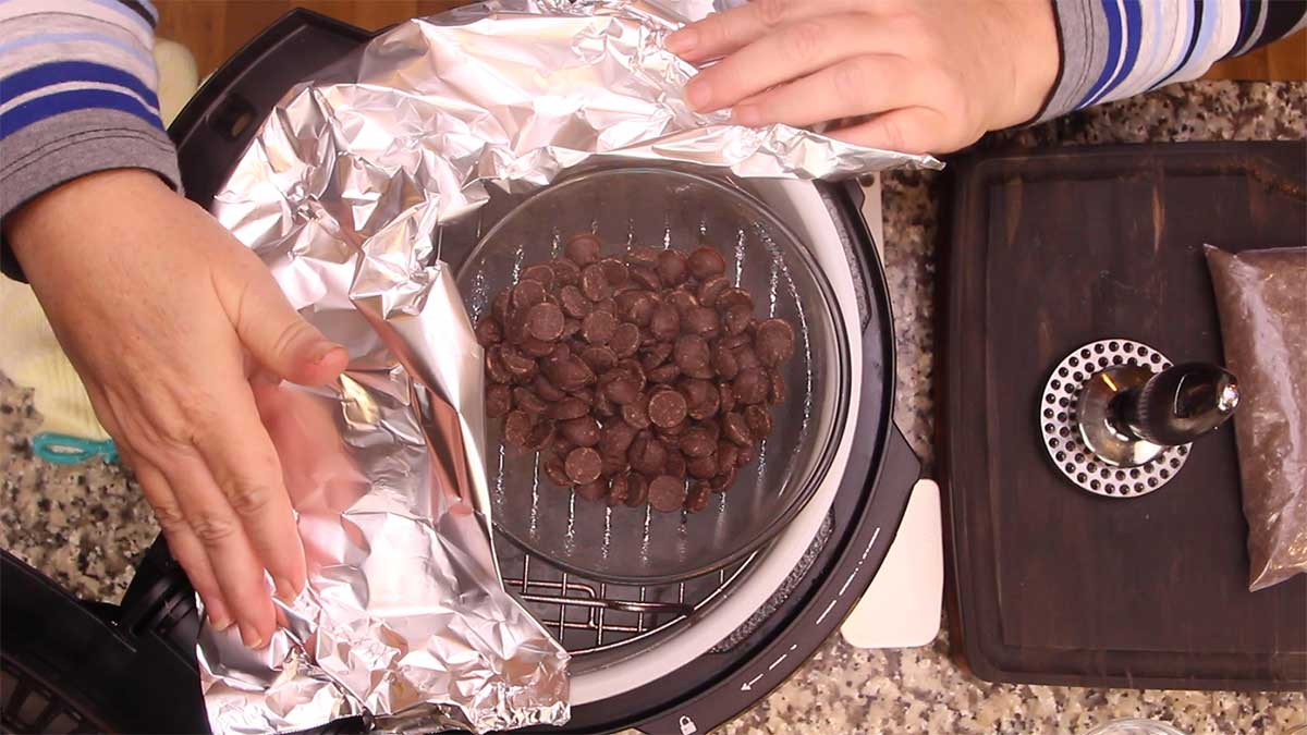 creating a double boiler with the rack and a glass bowl