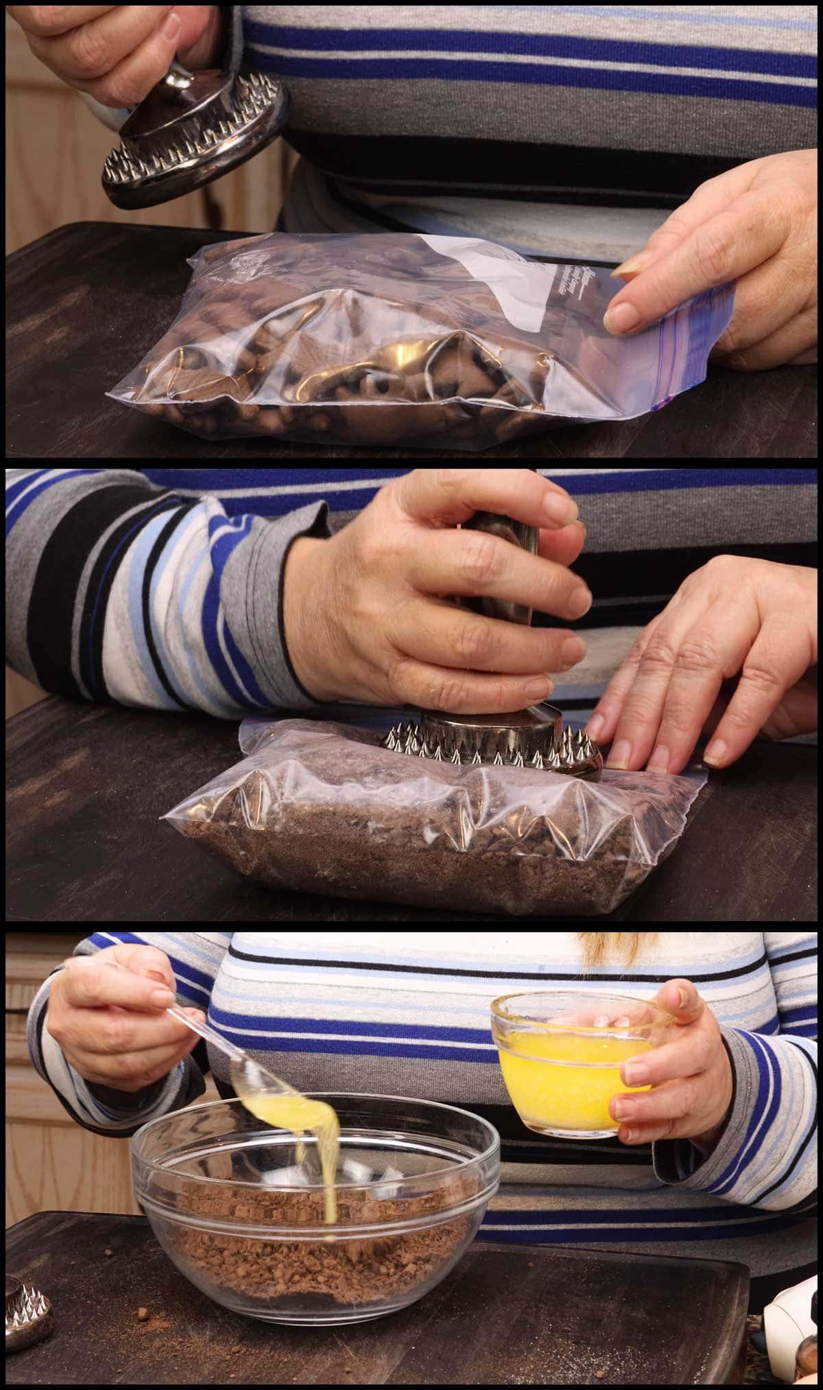 crushing the chocolate animal crackers by hand
