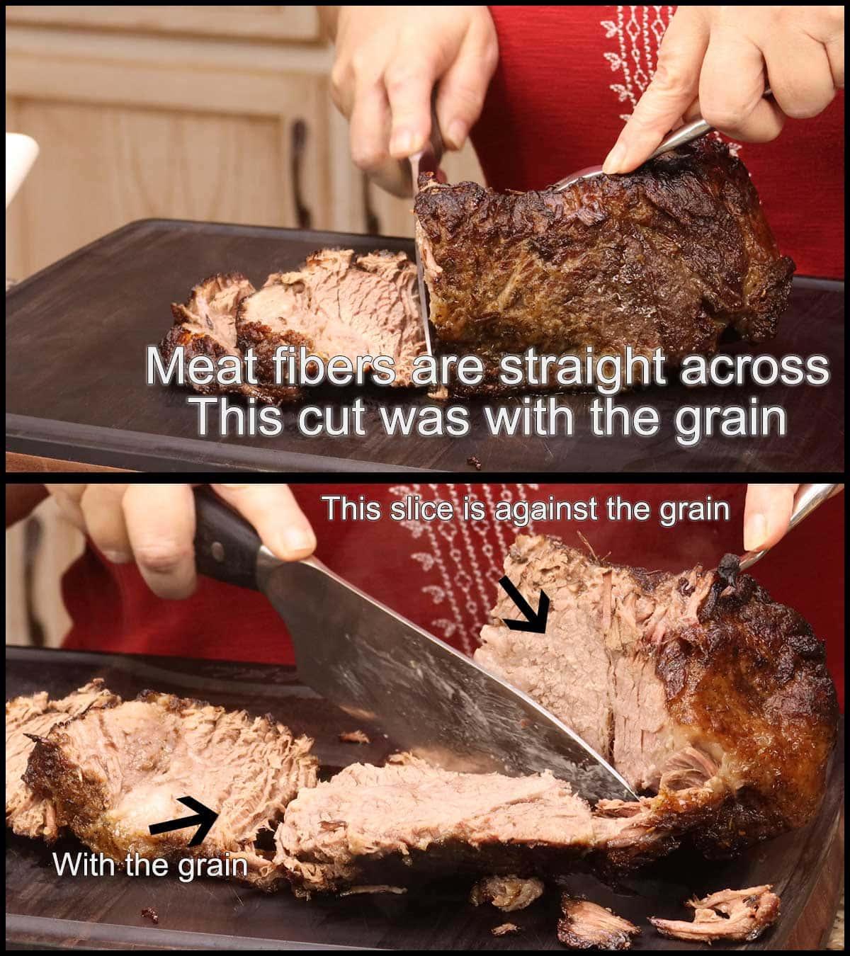 slicing the brisket