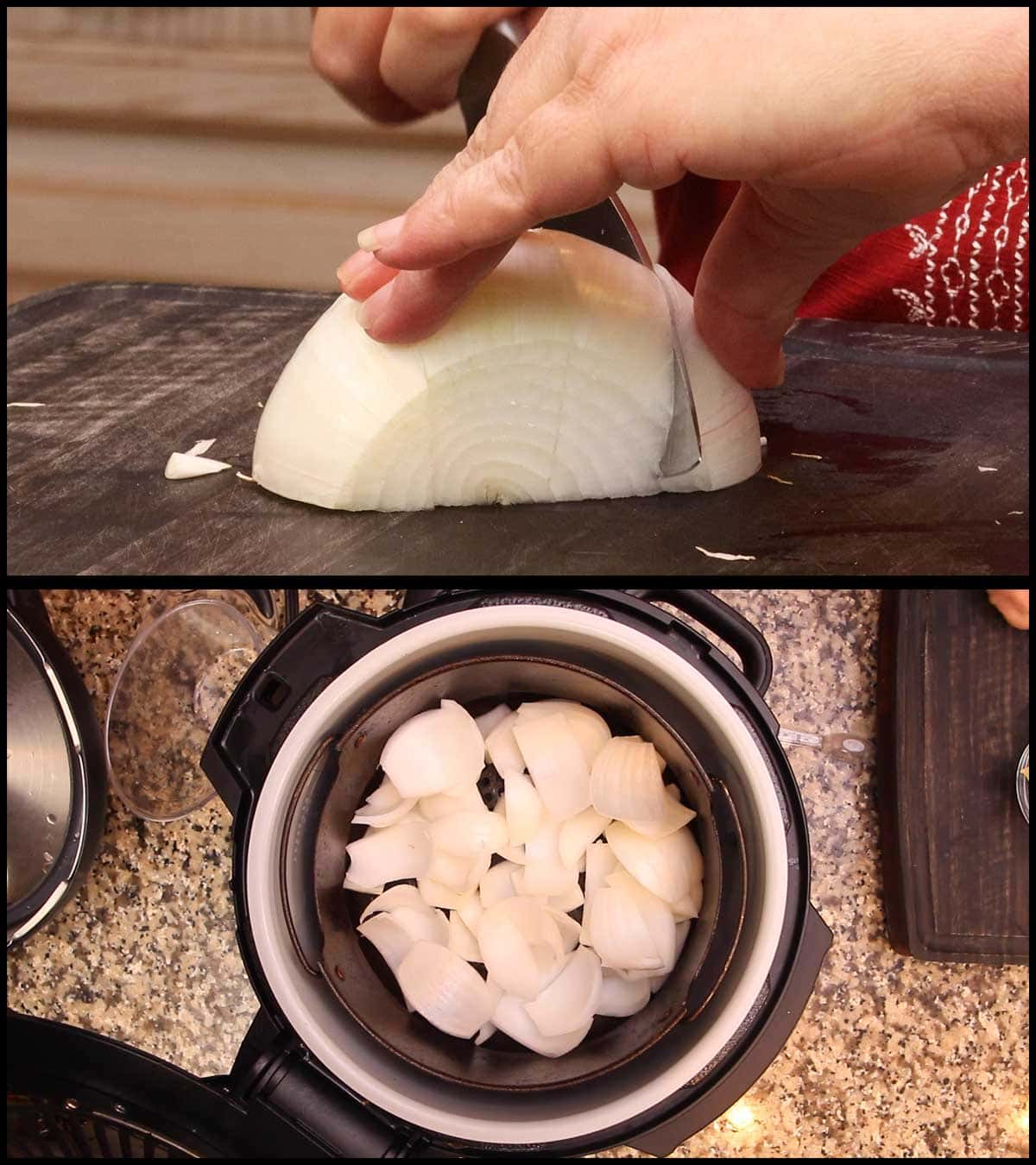 cutting the onion and putting it in the basket