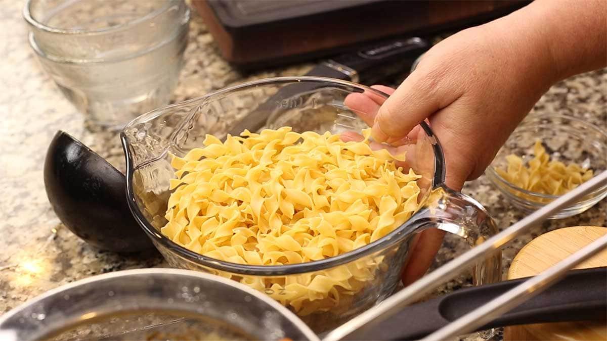 bowl of medium egg noodles