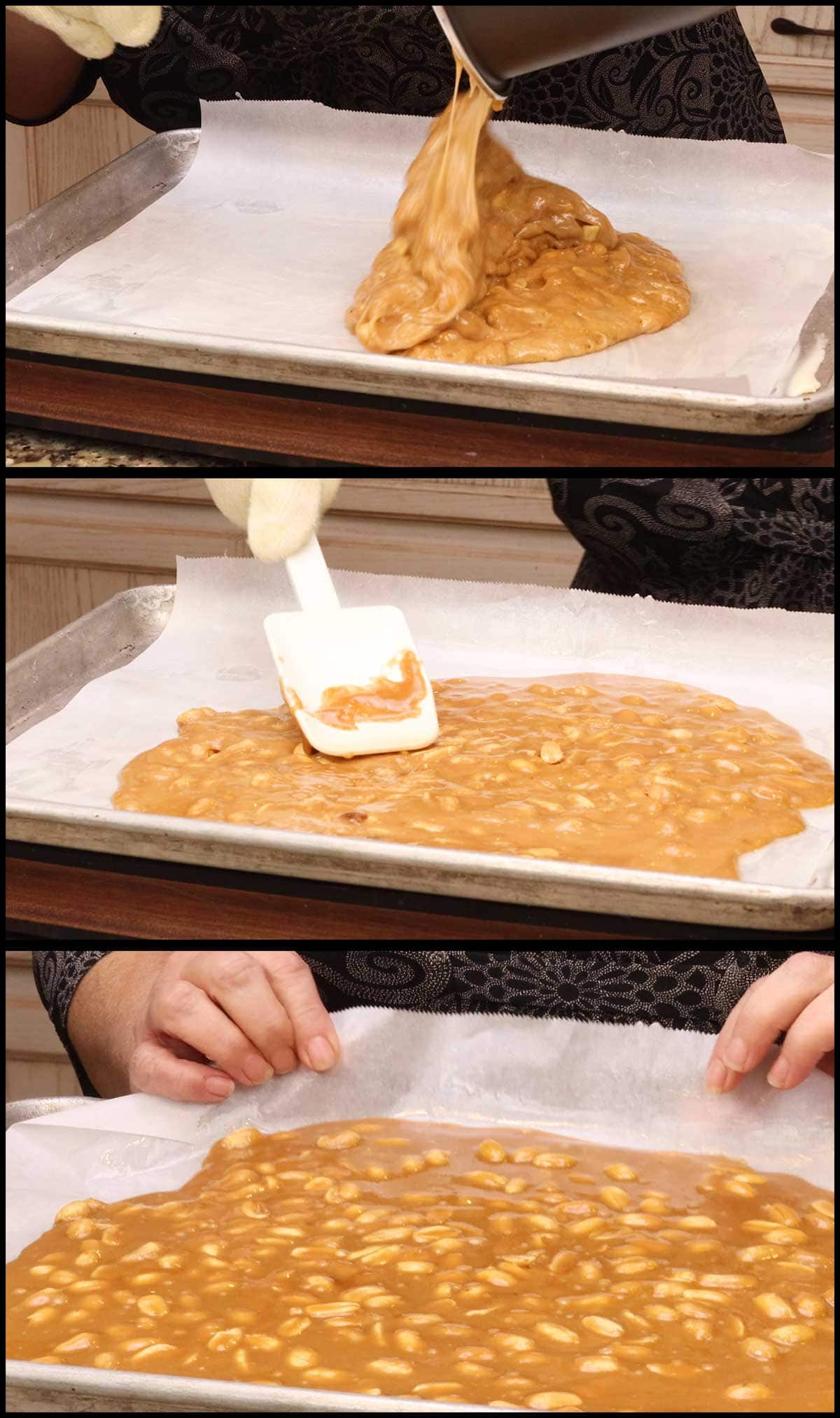 pouring the peanut brittle out onto the parchment