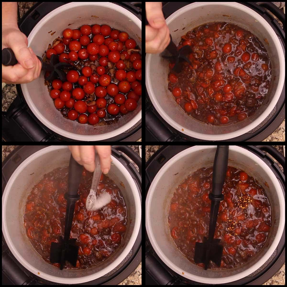 reducing the tomato bacon jam and adding salt and red pepper flakes