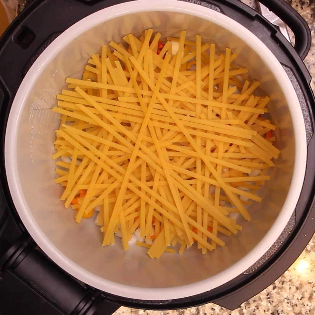 pasta in pot in criss cross fashion