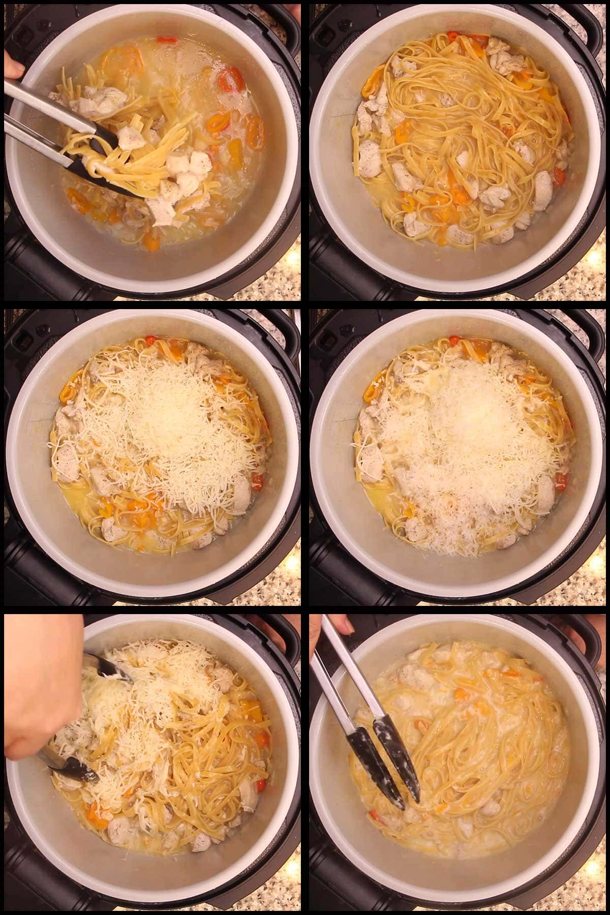 adding shredded cheese to chicken alfredo and mixing it in
