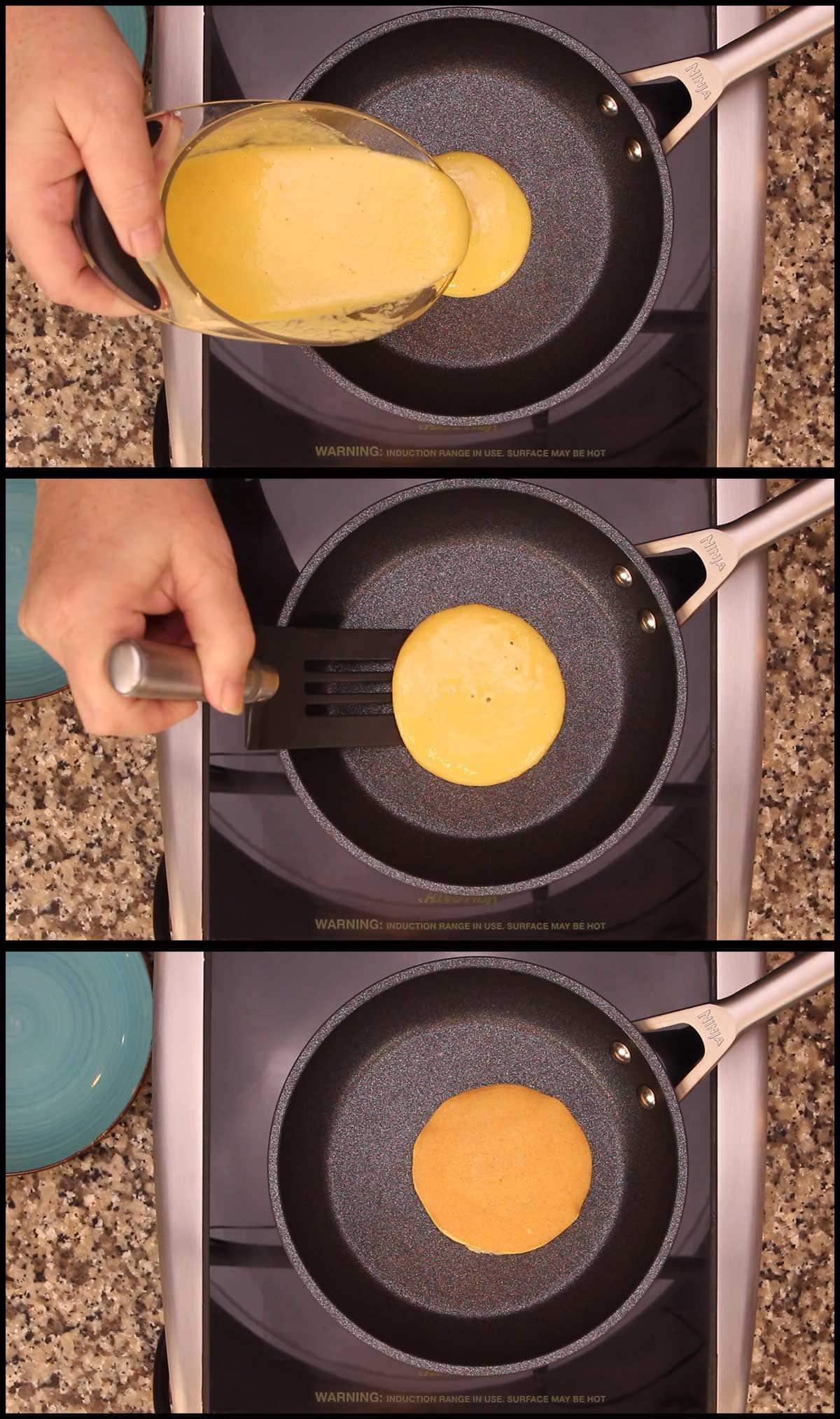 Keto Pancakes cooking