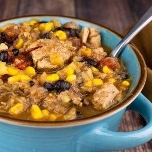 Mexican Pork Stew in a blue bowl