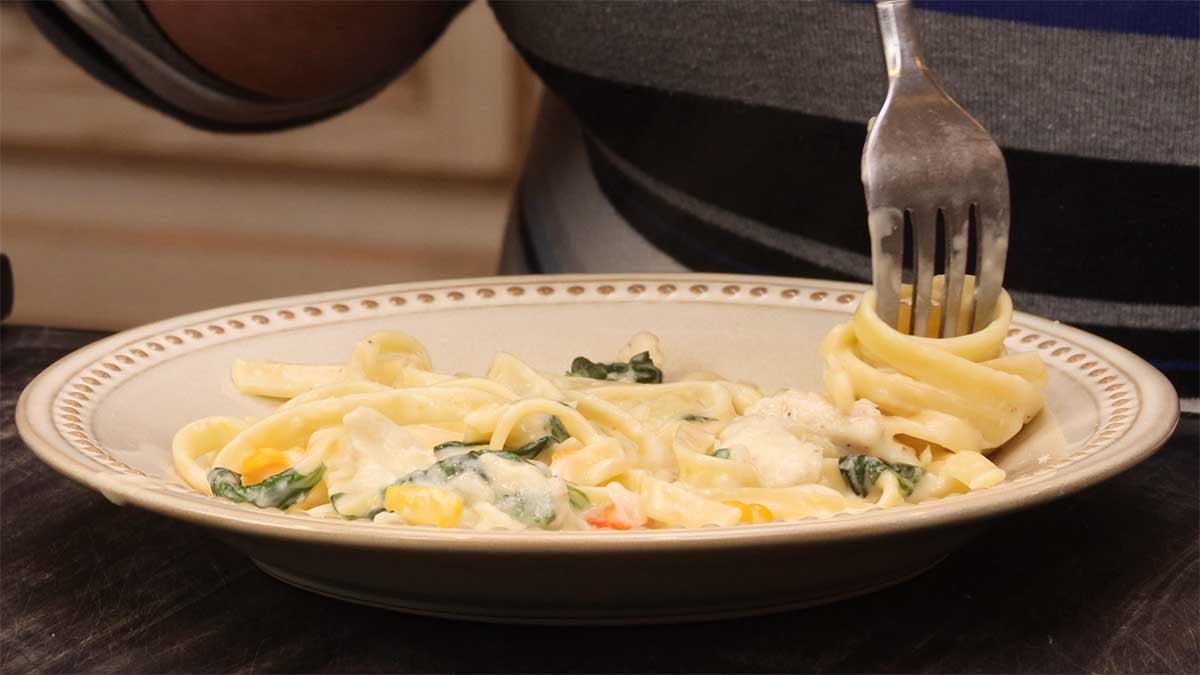 twirling the chicken alfredo with a fork