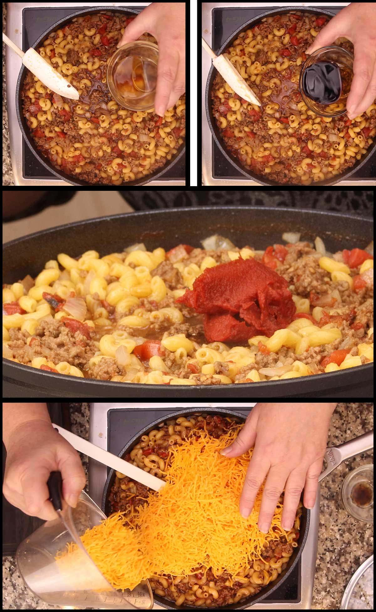 adding remaining ingredients to cheeseburger mac