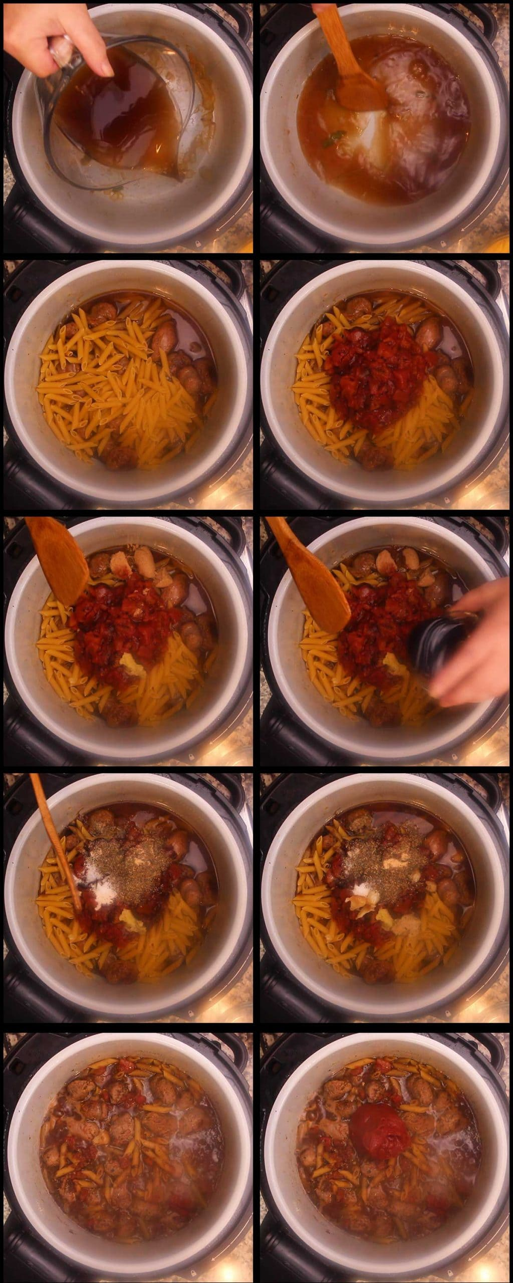 adding the remaining ingredients to the pot before pressure cooking