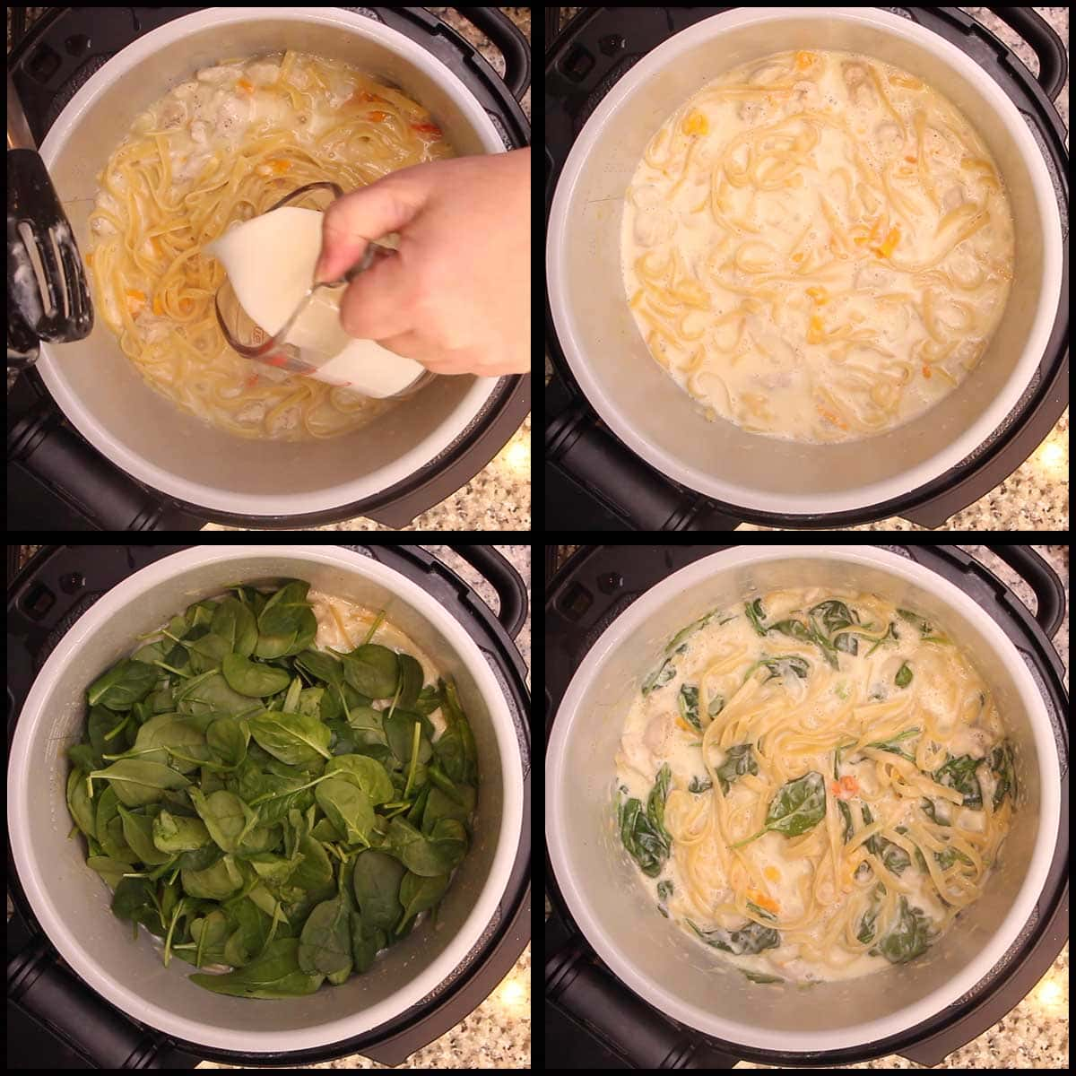 mixing in the cream and spinach