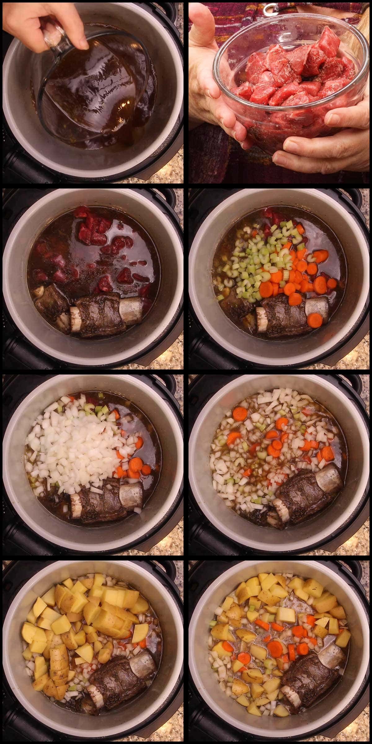 adding ingredients for vegetable beef soup to the inner pot