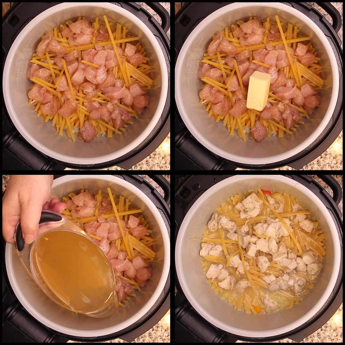 adding chicken, butter, and broth for pressure cooking chicken alfredo