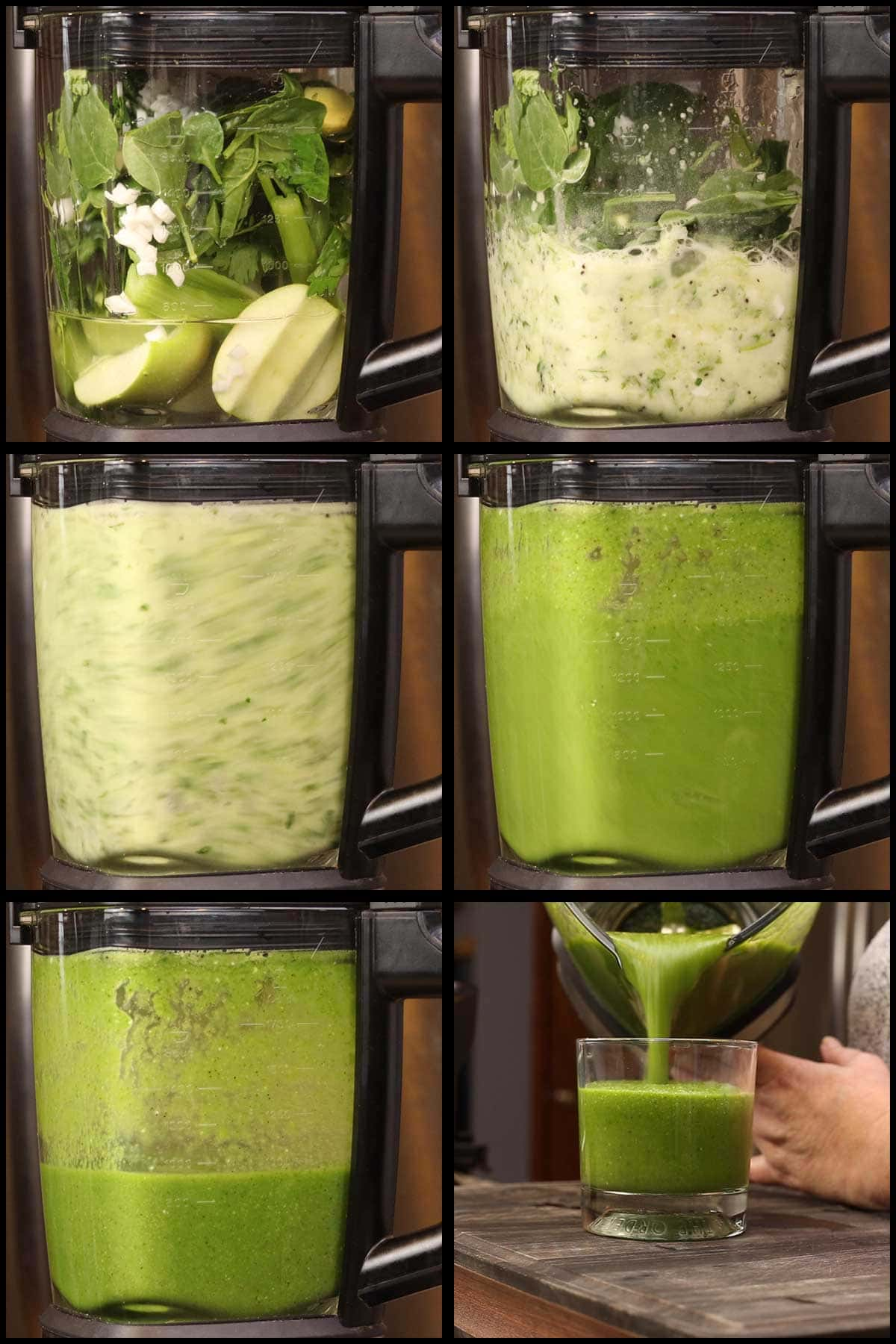 Blending green juice in the Ninja Foodi Cold & Hot Blender