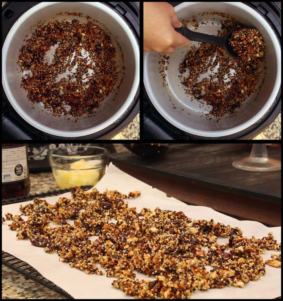 quinoa granola after air crisping and spread out on a tray lined with parchment