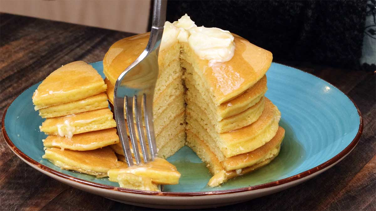 Keto pancakes cut with butter and sugar free sugar