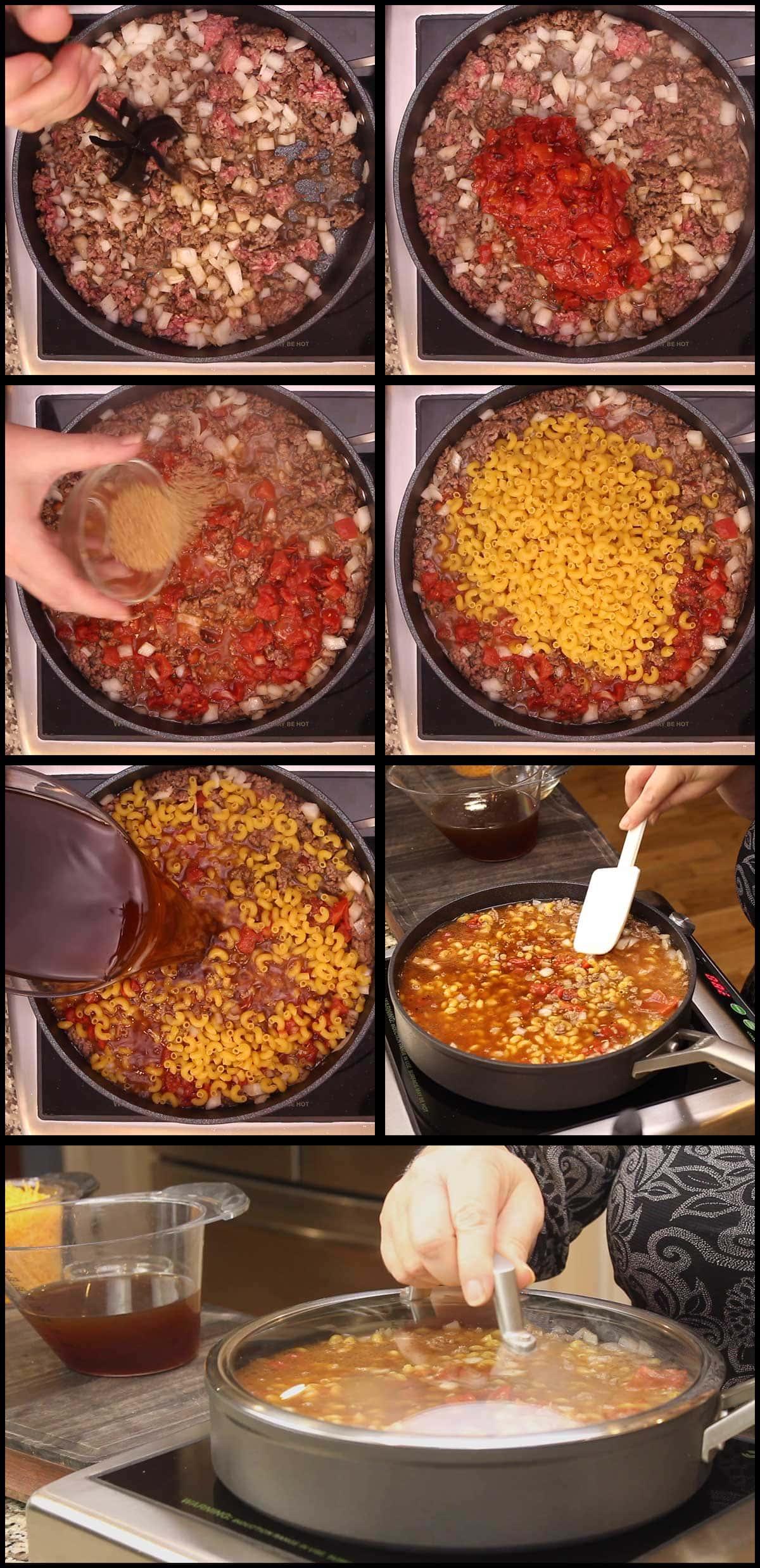 adding ingredients to simmer cheeseburger macaroni