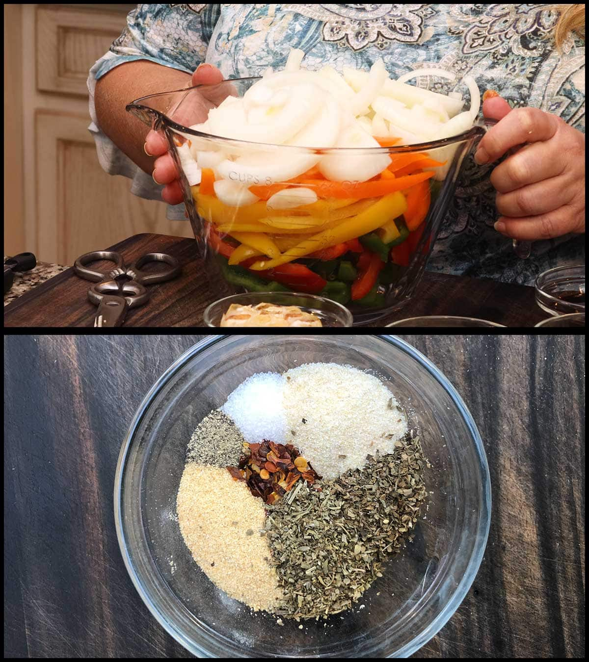 onions and peppers cut up into a bowl and seasonings measured out into a bowl