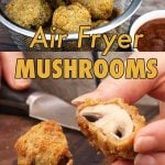 air fryer fried mushrooms in a basket and one cut in half