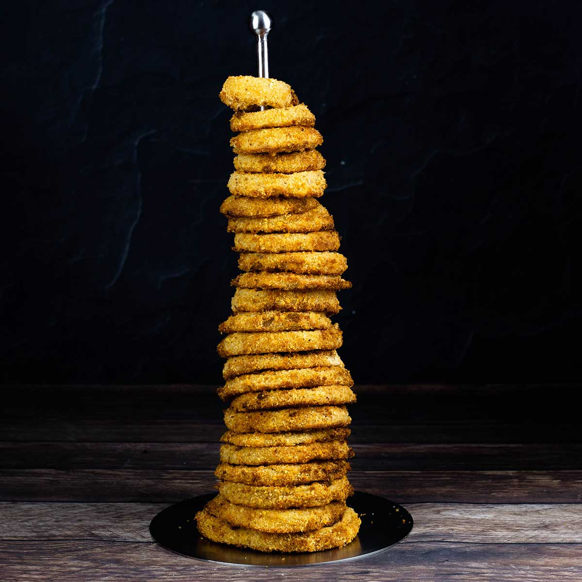 onion rings stacked in a tower