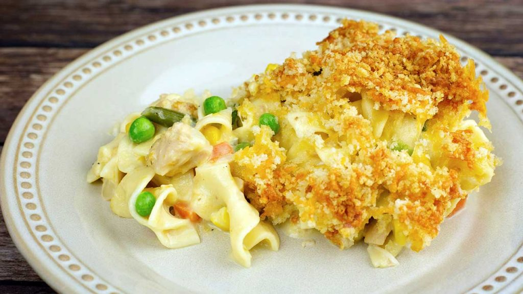 Serving of Tuna Noodle Casserole on a plate