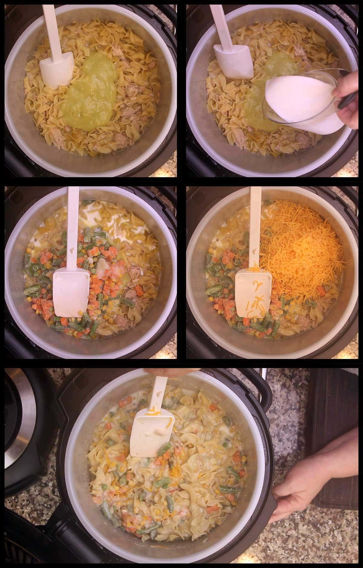 adding, soup, cream, cheese, veggies to casserole and stirring
