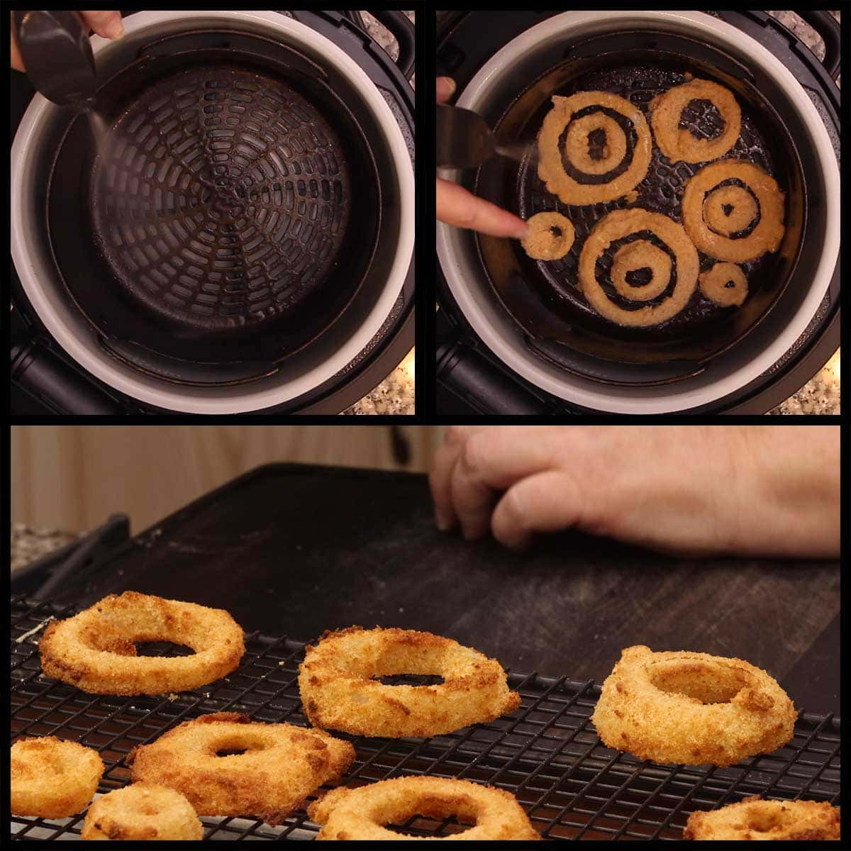 air frying onion rings and setting them on a cooling rack