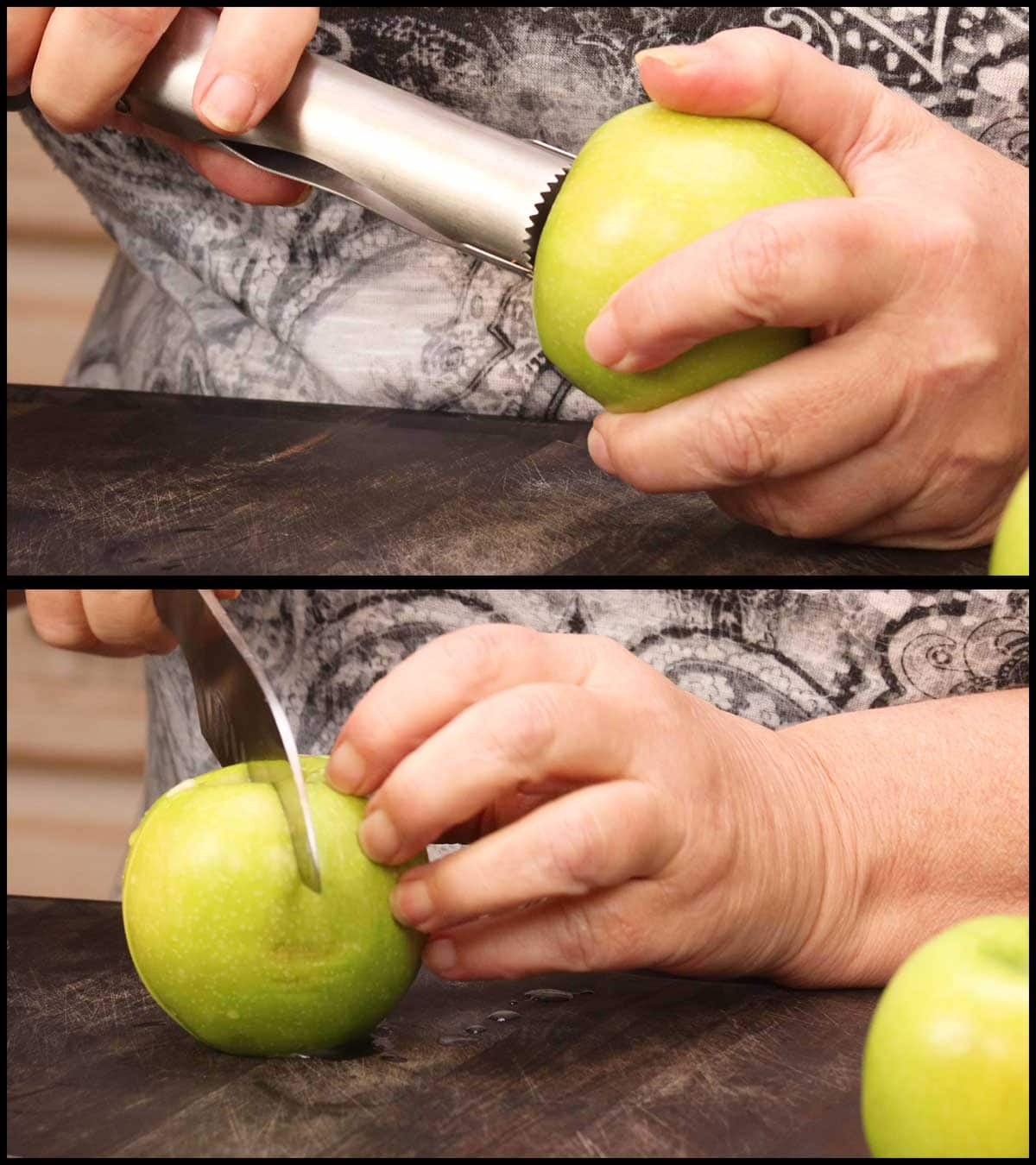 coring and slicing the apple